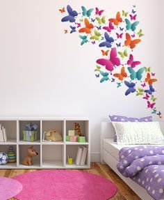 Butterfly wall stickers purple lilac white girls wall for Stickers habitacion nina
