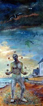 Painting of a man juggling on a beach, Juggler II by John Hosking