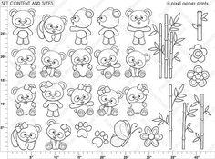 Panda Bear Digital Stamps Clipart by pixelpaperprints on Etsy