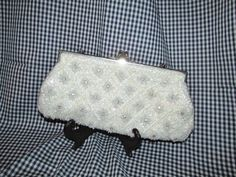 Off -White Satin Beaded Evening Bag / Purse by trackerjax on Etsy
