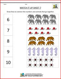 Here you will find a selection of Math Worksheets Kindergarten designed to help children learn to match numbers of objects up to Kindergarten Design, Kindergarten Age, Kindergarten Math Worksheets, Math Resources, Maths, Printable Math Worksheets, Alphabet Worksheets, Free Printables, Jackson School