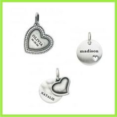 Personalized Vintage-Look Charms in Sterling Silver from the Ones We Love Collection.  Engrave with names and dates for that personal touch!