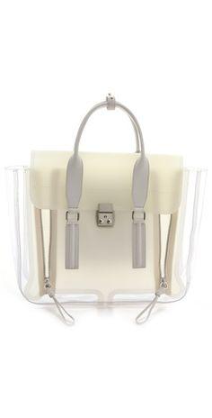 Phillip Lim Pashli Satchel in a mixture of transparent and opaque PVC. Satchel Purse, Satchel Handbags, Leather Satchel, Leather Purses, Leather Handbags, Crossbody Bag, Best Handbags, Purses And Handbags, Phillip Lim Bag