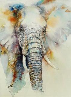 Arti Chauhan Gallery of Original Fine Art Elephant Love, Elephant Art, Watercolor Animals, Watercolor Paintings, Elephant Watercolor, Animal Paintings, Animal Drawings, Adult Art Classes, Ballet Painting