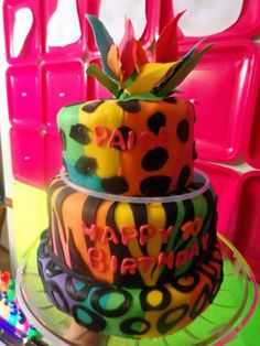 Rainbow cake by sticky dough
