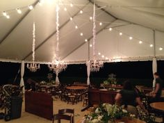 Vineyards at Chappel Lodge. Chandeliers and festoon string lighting.