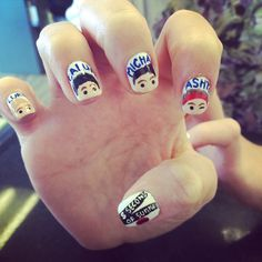 5 seconds of summer nail art designs do i pin it under celebrities or nails lol Acrylic Nail Designs, Nail Art Designs, Acrylic Nails, Acrylics, Crazy Nail Art, Crazy Nails, One Direction Nails, 5sos Nails, Tumblr Nail Art