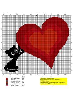 Cross stitch *♥* Point de croix cat-coeur