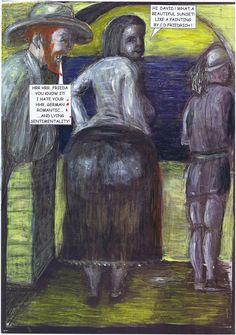 D.H. Lawrence spielte gerne den Libertin und überspielte seine Eifersucht. Er suchte andere Streitpunkte, um einen Vorwand zu finden sie tüchtig zu verprügeln.