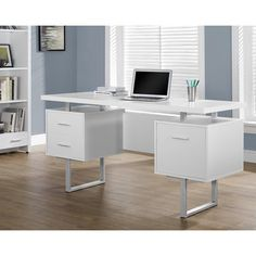 Sleek and contemporary, this desk is the perfect combination of function, durability and design in a modern form. With clean lines, a floating top work station and sleek track metal legs, this desk will add pizzazz to any home office. Featuring two storage drawers and a file drawer to help keep you organized with a large desktop surface to provide plenty of room for all your hardware and working needs.