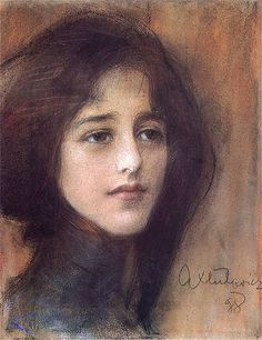 'Portrait de femme' ('Portrait of a Woman') (1898) by Teodor Axentowicz (1859-1938). Pastel on paper. Dimensions, location not specified. // Bio notes on this artist: http://en.wikipedia.org/wiki/Teodor_Axentowicz // Found by @RandomMagicTour (https://twitter.com/randommagictour) - Sasha Soren - Book trailer: http://www.youtube.com/watch?v=ImIzIx4IeQQ - Browse (Kindle/print): http://www.amazon.com/Random-Magic-Sasha-Soren/dp/0979777410/ref=sr_1_1?ie=UTF8&qid=1328315192&sr=8-1