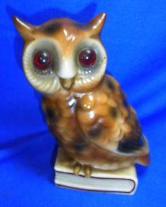 Vintage German Porcelain Perfume Lamp Night Light Owl #AL