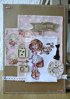A card made with a lovely Simply Sassy image from Sugar Nellie, available at Funkykits