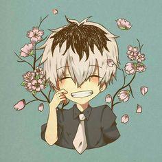 Sasaki Haise, cute, chibi, sakura blossoms, tree, smiling, blushing; Tokyo Ghoul