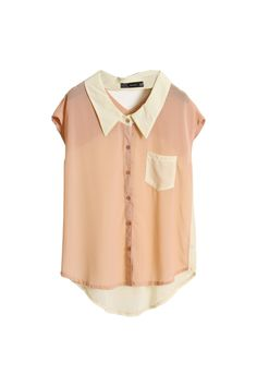 ++ hollowed back light pink chiffon shirt