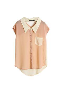 ++ hollowed back light pink chiffon shirt