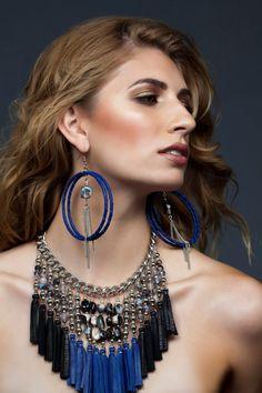 LISA / Blue Hoop Earrings Blue Earrings Blue by ChandraJewelry