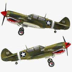 3d curtiss p 40 warhawk fighter model