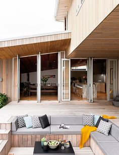 The outdoor area of this St Heliers home features a sunken pit designed for entertaining. Photography by: Helen Bankers. Deck Ideas New Zealand, Sunken Living Room, Outdoor Doors, Inside Home, Home Reno, Outdoor Entertaining, My Dream Home, Outdoor Living, House Plans