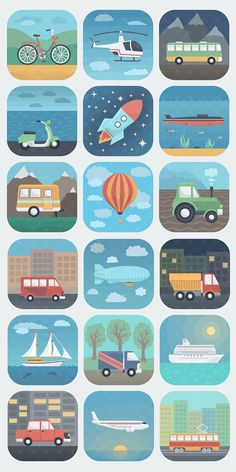 Transport and travel icons by alex serada, via behance. Learning Activities, Preschool Activities, Kids Learning, Travel Icon, Travel Logo, Kindergarten, Application Icon, Transportation Theme, Travel Illustration