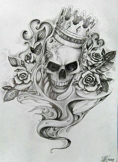 Chicano Skull Tattoo Design Lower Back Tattoos , Kunst Tattoos, Tattoos Skull, Bild Tattoos, Skull Tattoo Design, Rose Tattoos, Body Art Tattoos, Tattoo Designs, Ear Tattoos, Celtic Tattoos