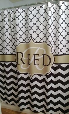 Shower Curtain Chevron Quatrefoil Lattice YOU CHOOSE COLORS 72, 78, 84, 90 or 96 inch Custom Monogram Personalized for Your Bathroom on Etsy, $74.00