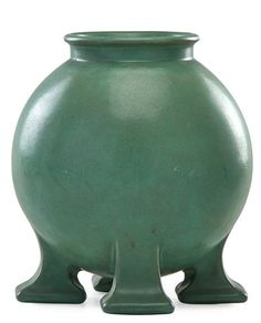 "TECO, spherical vase on four buttress feet, Terra Cotta, IL, ca. 1905; Multiple TECO stamps; 12"" x 11"""