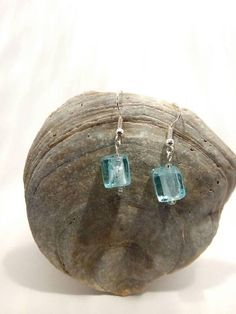 Aqua-Blue Cube Glass Beaded Silver Plated Earrings