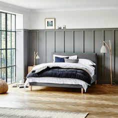 Feather and Black, Cameron bedstead, Grey, (with wooden sprung slatted base)