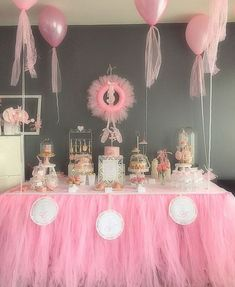 An anniversary on the theme Dance and Ballerina - Trend Girls Party 2019 Ballerina Birthday Parties, Barbie Birthday, Princess Birthday, Girl Birthday, Cake Birthday, Ballet Baby Shower, Girl Shower, Girl Baby Shower Decorations, Birthday Decorations