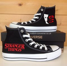 Black high top Converse hand painted with a Stranger Things Eleven design, personalise with a quote for a unique gift for a Stranger Things fan! Stranger Things Aesthetic, Stranger Things Funny, Eleven Stranger Things, Stranger Things Netflix, Stranger Things Items, Stranger Things Season 3, Custom Converse, Custom Shoes, Stranger Things Merchandise