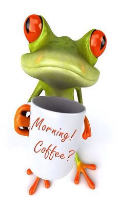 MORNING COFFEE FROG IPHONE WALLPAPER BACKGROUND
