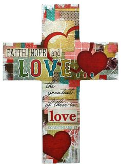 "[""This unique wall cross gives a modern touch to a classic expression of faith. Featuring bright red hearts, the cross is covered in a patchwork of designs and patterns, giving it a funky look. This decorative cross will add a fun and faithful accent to any room! The cross reads, \""Faith, Hope and Love... the greatest of these is love.\"" - 1 Corinthians 13<\/i>Product Details:<\/b>Dimensions: 5.8\""(W) x 8\""(H)""] $15.99"