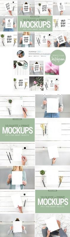 Product or Quote Mock ups | Bright white modern branding for print mock ups or Instagram quotes | Perfect for Instagram quotes (Creative Market aff link)