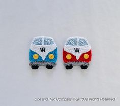 Ravelry: VW Camper Van Applique pattern by Carolina Guzman. Pinning this for my bro :) Appliques Au Crochet, Crochet Motif, Crochet Yarn, Crochet Toys, Crochet Patterns, Love Crochet, Crochet Flowers, Crochet Crafts, Crochet Projects