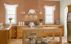 Good Color W/ Lt Wood Cabinets Insanely Great Kitchen Paint Colors  Pictures]: Kitchen With Shades Of Copper And Red