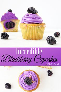 These blackberry filled cupcakes are what spring dreams are made of. Combine that with this amazing blackberry buttercream and you have an amazibg dessert! Filled Cupcakes, Wedding Cakes With Cupcakes, Fondant Cupcakes, Yummy Cupcakes, Cupcake Cookies, Samoa Cupcakes, Amazing Cupcakes, Cupcake Wars, Cupcake Toppers
