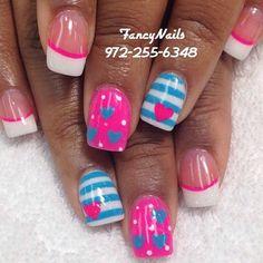 Nice 44 Amazing Stripes Hearts Nail Art Ideas For Valentines Day Heart Nail Art, Heart Nails, Pretty Nail Art, Cute Nail Art, Fancy Nails, Diy Nails, Valentine Nail Art, Super Nails, Fabulous Nails