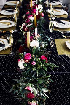 Black & Gold NYE Wedding: Floral garland by Celsia Floral. Unique Wedding Centerpieces, Floral Centerpieces, Wedding Decorations, Table Decorations, Wedding Ideas, Wedding Inspiration, Decor Wedding, Wedding Trends, Flower Runner Wedding
