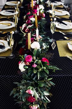 Black & Gold NYE Wedding: Floral garland by Celsia Floral.