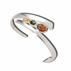 .925 Sterling Silver Adjustable Yellow, Green and Cognac Amber Cuff Bracelet Abrams Jewelry. $497.90
