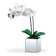 Arranjo de flores Artificiais Orquideas Brancas no Cachepot Vidro Espelhado 40 cm Ikebana, Vase, Garden, Plants, Home Decor, Fake Flower Arrangements, Glazed Glass, White Orchids, Flower Decoration