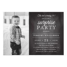 Chalkboard Old & New Photo Surprise Birthday Invitation Card Invitation, Diy Invitations, Chalkboard Invitation, Invites, Invitation Templates, Surprise Birthday Invitations, Birthday Cards, Chalkboard Typography, Modern Typography