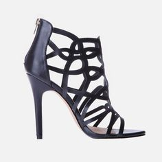 You're looking at a must-have heel silhouette for the spring/summer season, to wear with your turned-up jeans or drop-waist dresses. It features multiple cross over straps that give it a geometric look. Drop Waist, Peep Toe, High Heels, Spring Summer, Kitty, Wedges, Silhouette, How To Wear, Shoes