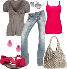 """Khaki and Hot Pink"" by pamnken on Polyvore"