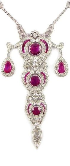 Early 20th century ruby and diamond tiered pendant necklace, made in France c.1910, probably for Dreicer