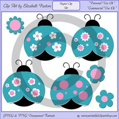 Pink & Blue Cute Ladybug Clip Art
