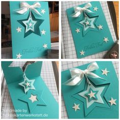hand crafted star card in gorgeous aquas ... dangling star is removeable ornament ... luv it! ...Stampin' Up!
