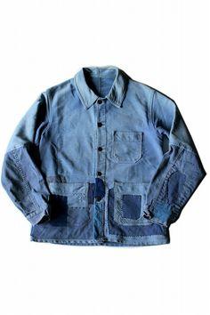 French vintage patched moleskine work jacket/France 1950's/moleskin…