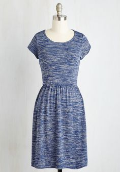 Casual Inclination A-Line Dress in Heather Blue, @ModCloth